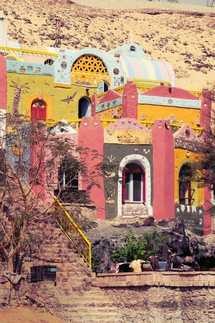 Colourful Nubian houses on Elephantine Island in Aswan, Egypt. Photo by: James Bedford