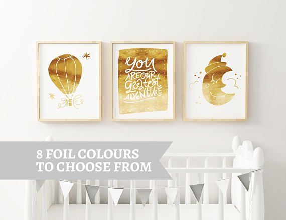 You Are Our Greatest Adventure - Baby Shower - Nursery Set For Baby - Real Foil Print - Nursery Decor - Foil Quote Prints - Nursery Wall Art