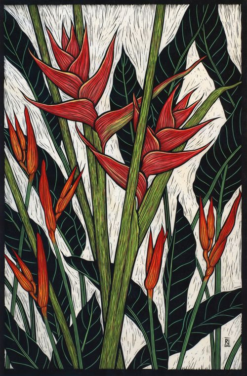 Exotic Flowers 2 - Hand coloured linocut by Rachel Newling.
