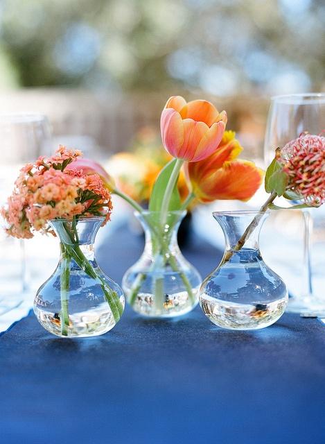 Orange bud vase wedding centerpiece tulips