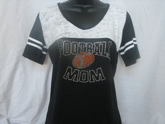 Football Mom Jersey Shirt with Football In the Middle T Shirt on Etsy, $21.99
