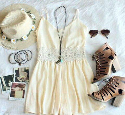 Cream White Dress with a Simple Design and Floral Embroidery, Cream Colored Wide Brim Hat, Cut Design Heeled Ankle Boots, and Love Heart Shades