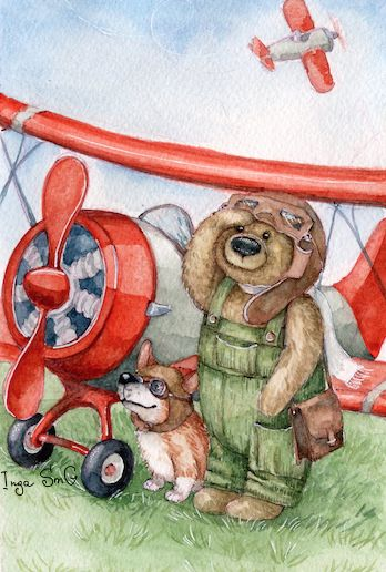 Pilot Bear and Airplane by Inga Izmaylova