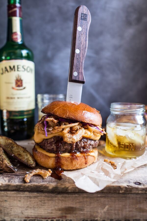 Jameson Whiskey Blue Cheese Burger with Guinness Cheese Sauce + Crispy Onions.
