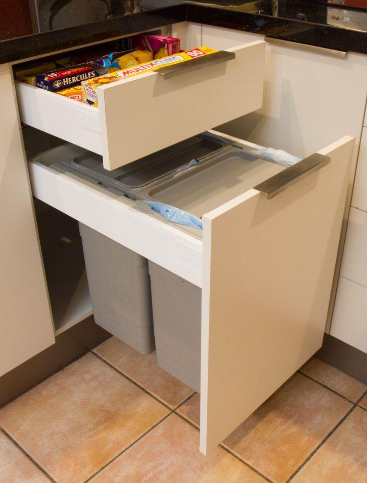 Semi-industrial kitchen. Bin in drawer for a cleaner kitchen. www.thekitchendesigncentre.com.au