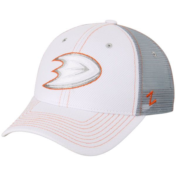 Anaheim Ducks Zephyr Women's Cardio Trucker Snapback Adjustable Hat - White - $22.99