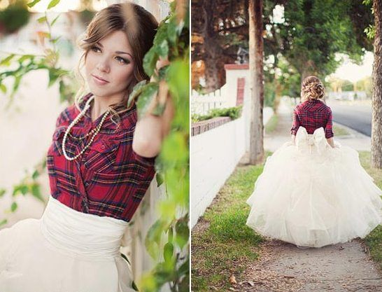Tartan check shirt and tulle skirt wedding dress.  LOVE!  When we renew our vows I am wearing this dress...but in our tartan of course ;)