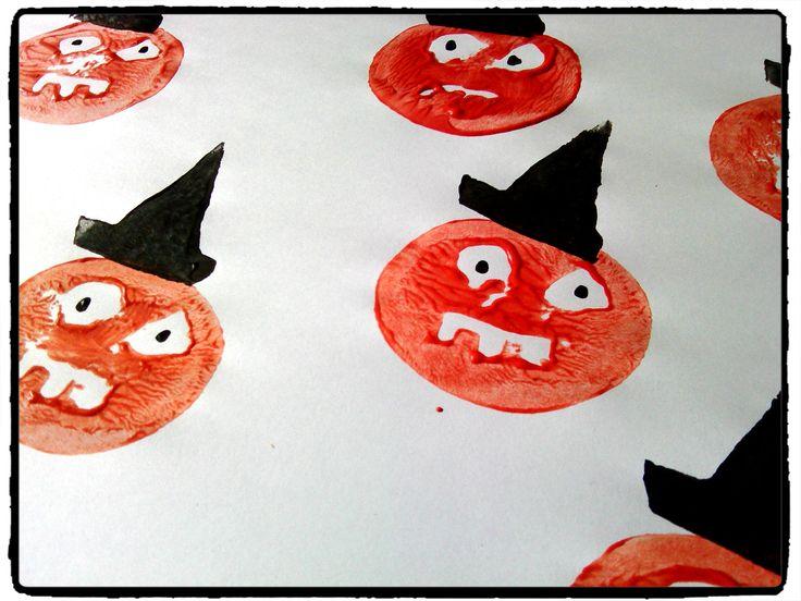 citrouille d'halloween, empreinte pomme de terre, chapeau de sorcière, activité enfant