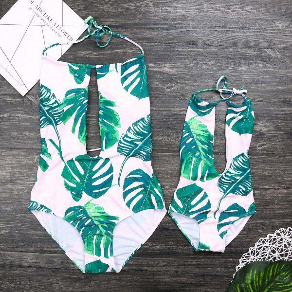 $ 15.99 One-piece Tropical Plants Printed Swim Suits for Mom and Me #matching outfit …