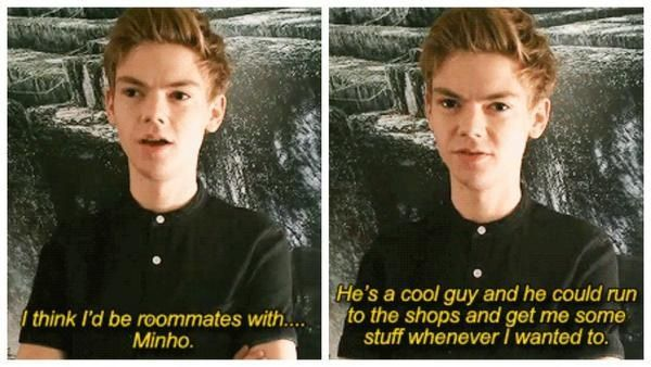 Thomas Sangster about wanting Minho to be his roommate