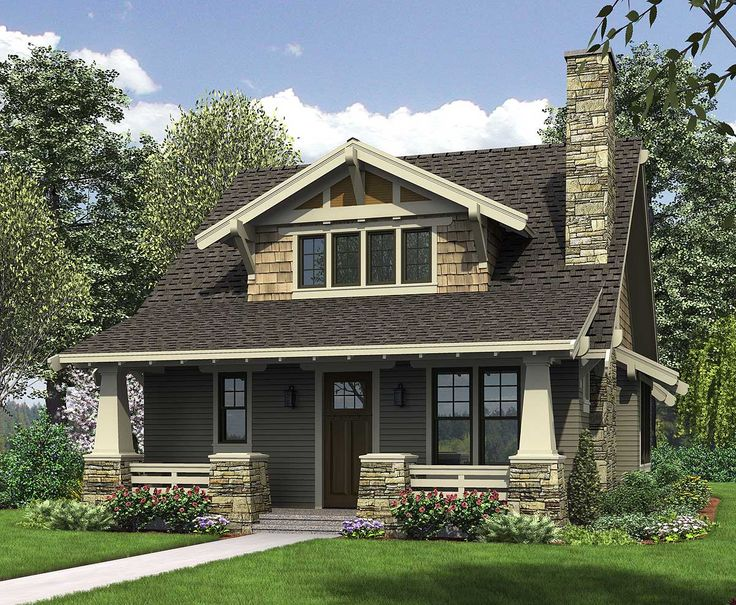 <ul><li>This bungalow is a modern take on the classic Craftsman house plan. The exterior features tapered front columns, a deep, covered front porch, a windowed roof gable and extensive use of natural materials. All of this plus an floor plan - and loft - make this a great home plan.</li><li>As you enter this Craftsman house plan, you'll see two half stone columns framing a covered porch. As you walk into the living room, with its fireplace and 9'-ceilings, to your left is a half-bath…