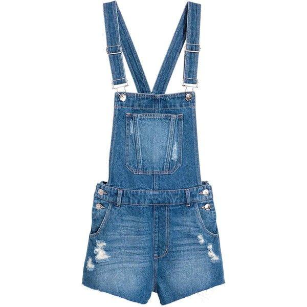 Denim dungaree shorts (501.250 IDR) ❤ liked on Polyvore featuring shorts, denim shorts, denim dungaree, denim dungaree shorts and dungaree shorts