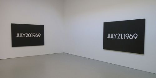 Installation view of On Kawaras Date Painting(s) in New York and 136 Other Cities at David Zwirner Gallery.