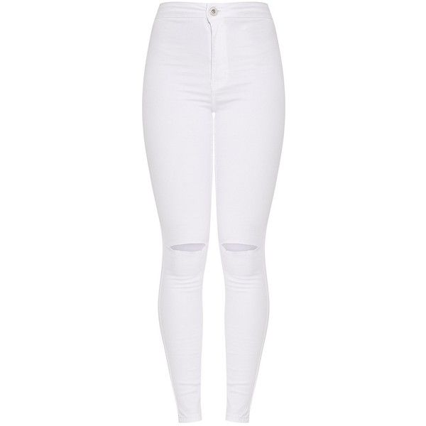 Elidih White Knee rip Skinny Jean ($40) ❤ liked on Polyvore featuring jeans, denim skinny jeans, destroyed skinny jeans, ripped jeans, white distressed jeans and destroyed jeans
