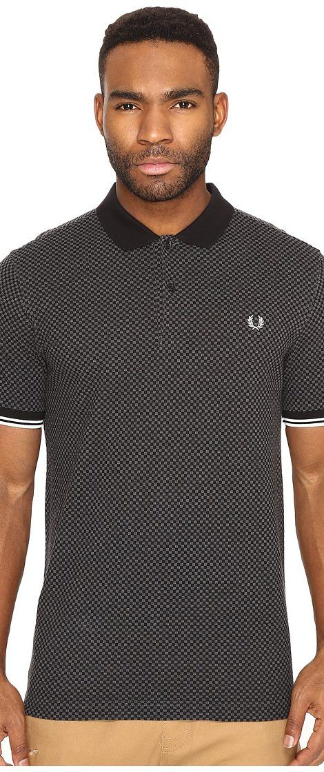 Fred Perry Chequerboard Print Pique Shirt (Graphite Marl) Men's Clothing - Fred Perry, Chequerboard Print Pique Shirt, M1511-829, Apparel Top General, Top, Top, Apparel, Clothes Clothing, Gift - Outfit Ideas And Street Style 2017