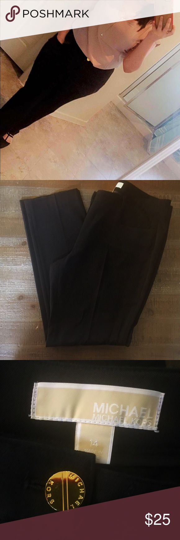MICHAEL KORS DRESS PANTS Only worn once ! stretch knit for comfortable fit, mid rise and slim straight leg. Back welt pockets with logo plaque hardware above. Slash hand pockets. Belt loop waistband. Zipper fly and button closure. Michael Kors Pants Trousers