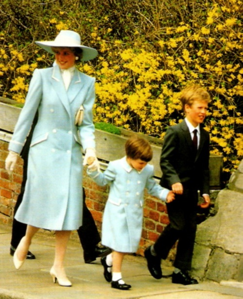 Princess Diana with Prince William and Peter Phillips at St George's Chapel, 1985
