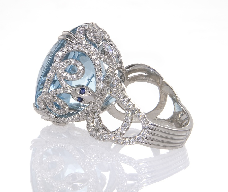 platinum and aquamarine snake ring by erica
