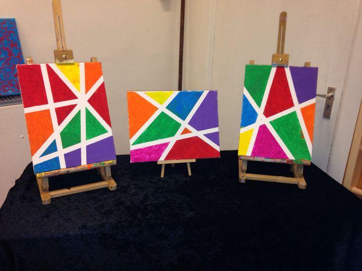 Schilderstape op het schildersdoek plakken, vlakken schilderen in leuke, felle…