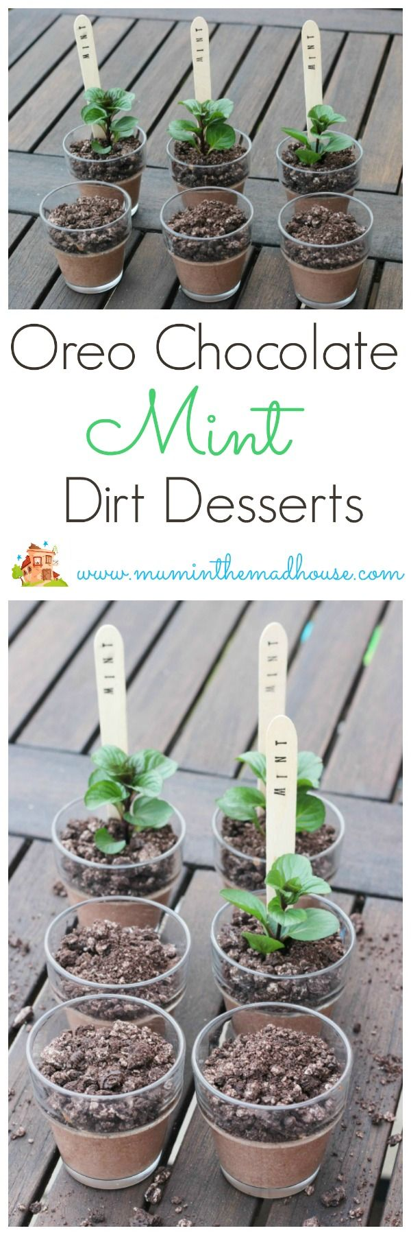 Oreo mint chocolate dessert plant posts.  These fun pudding pots are a great…