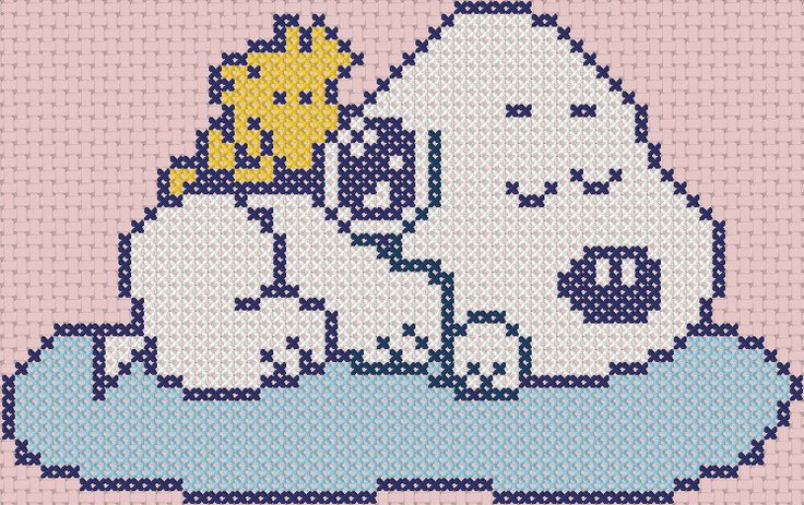 sleeping baby snoopy cross stitch pattern
