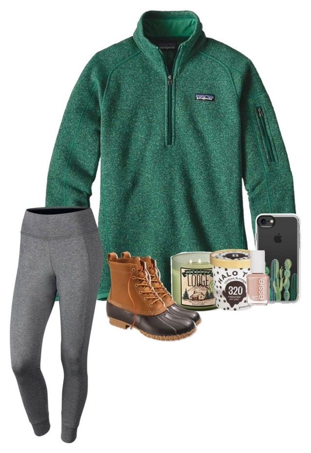 """How was your Monday?"" by brookespreppy ❤ liked on Polyvore featuring Patagonia, Mountain Lodge, Casetify, Essie, NIKE, L.L.Bean, casual, Boots, polyvorefashion and winter2018"