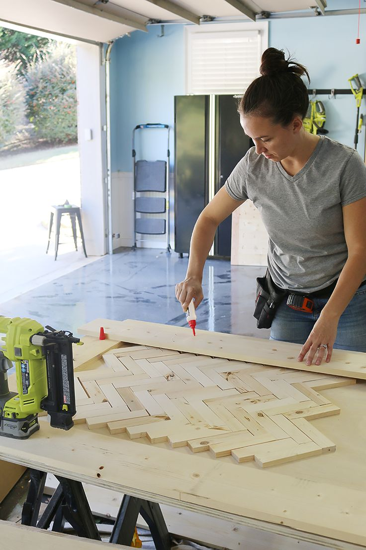 DIY Herringbone Barn Door - Katie Bower at work making my project list impossibly long!