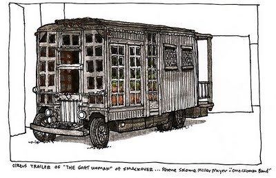 """""""...an interesting vehicle made from a former circus trailer that was owned by the locally famous """"Goat Woman"""" during the depression era. She was a """"one woman band"""" and could play seven instruments at once. She lived in this little trailer, raised goats, and would entertain any visitors who might drop by."""""""