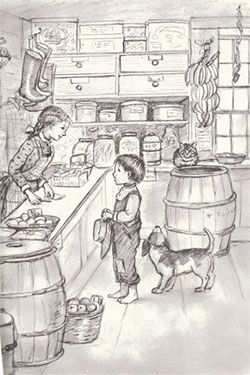 "Tasha Tudor's illustration ""some day I'm going to have a store, with a tinkling bell hung over the door. There'll be a little of everything...bolts of calico, balls of string......"" One of my many favorites;)"