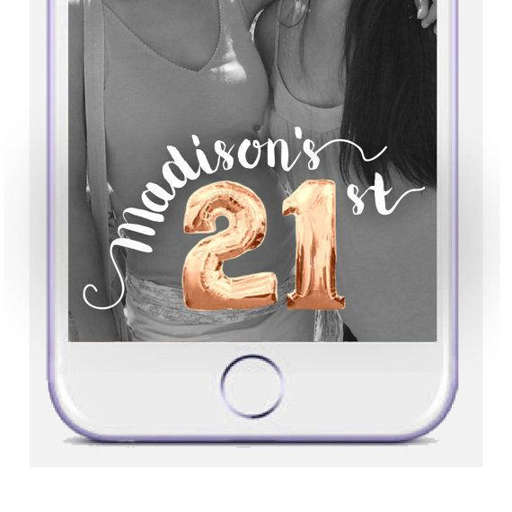 21st Birthday Snapchat Geofilter Mylar Balloon by DamesAndDollies                                                                                                                                                                                 More