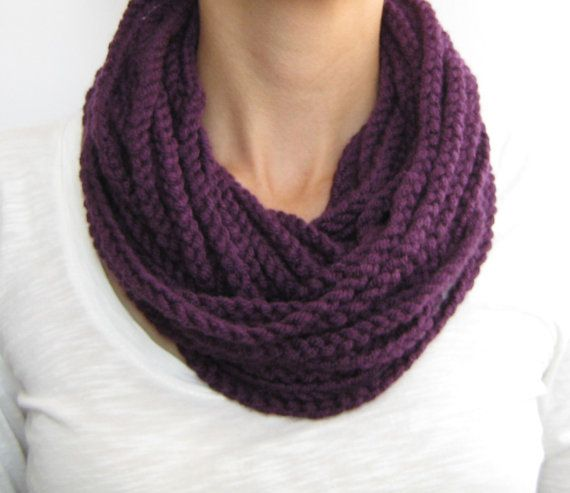 Purple crochet chain scarfcowlneck warmer infinity by sascarves, $17.00
