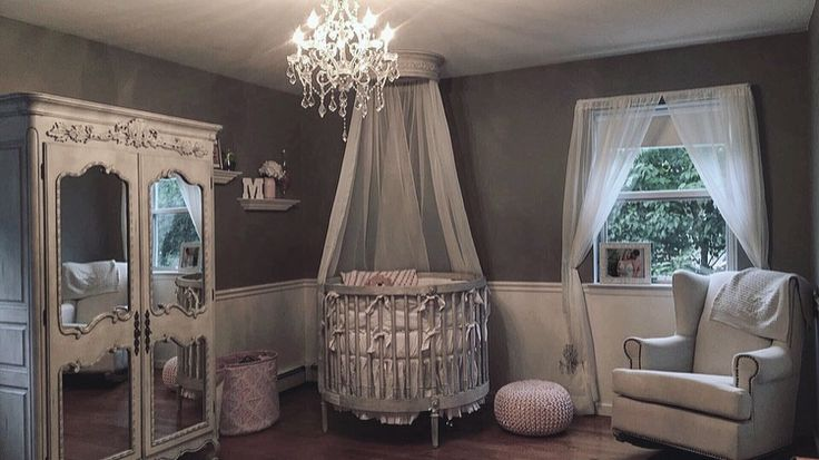 restoration hardware ellery baby girl nursery round crib canopy chandelier