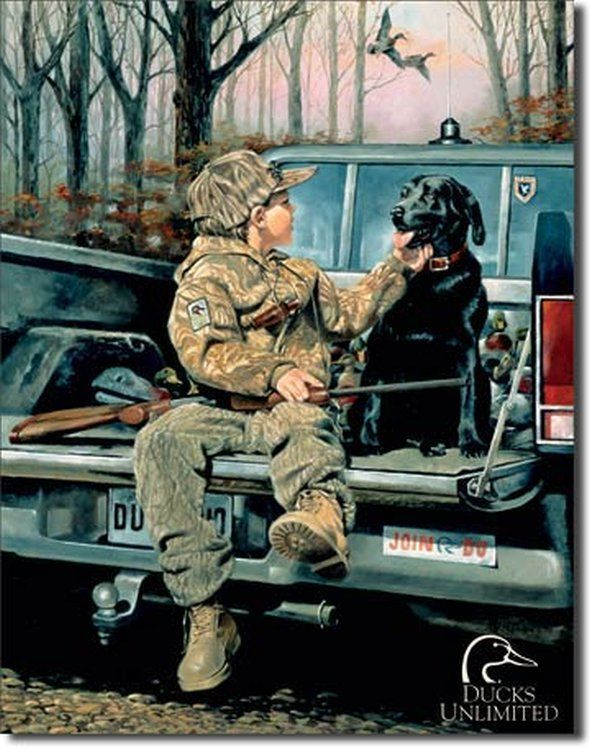 Ducks Unlimited Boy Lab Hunting Tin Sign Poster Print | eBay