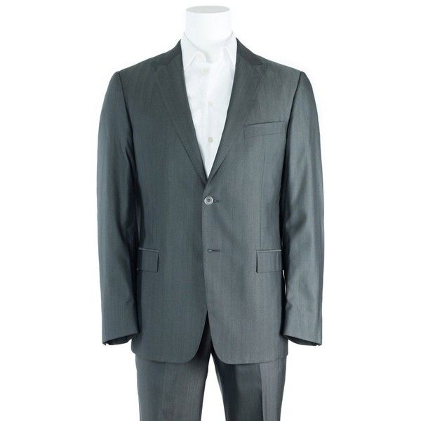 Versace Collection Gray Textured Wool Blend Two Button Suit (£265) ❤ liked on Polyvore featuring men's fashion, men's clothing, men's suits, grey, mens grey suits, mens gray suit, versace mens clothing and versace mens suits