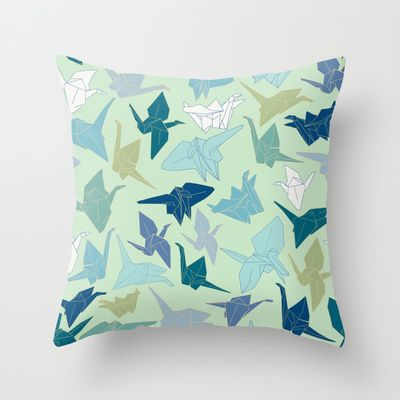 Paper Cranes- Green Throw Pillow by Katelyn Patton