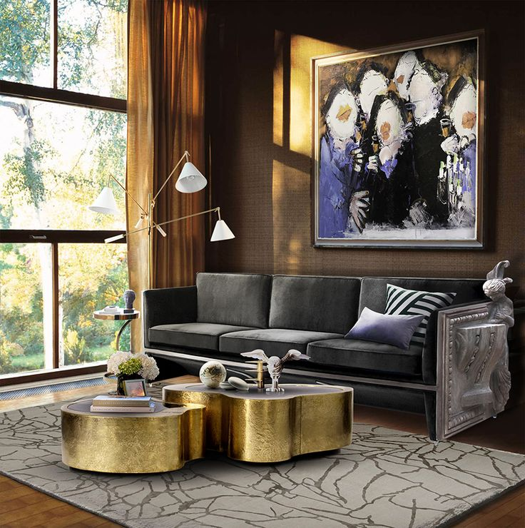 For those who prefer a luxurious décor style, this set will be definitely a perfect match: Versailles sofa, Wave coffee and side table and Stanley standing lamp. The best interior design.