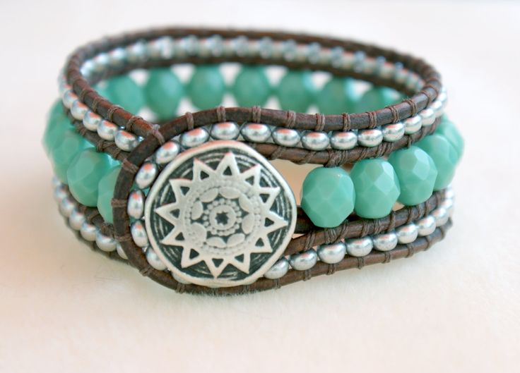 Turquoise bohemian beaded distressed leather wrap bracelet, boho chic, cuff, Chan Luu style, silver, green. $50.00, via Etsy.