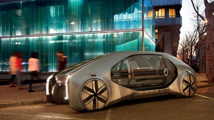 Il nuovo concept di Renault EZ-GO presentato ieri a Ginevra. Si tratta di un' auto-robot elettrica a guida autonoma e multiutente