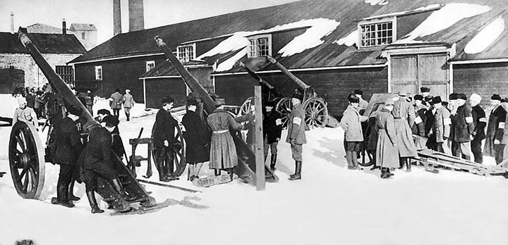 "An artillery school set up by the anti-socialist ""Whites"" during the Finnish Civil War 1918"