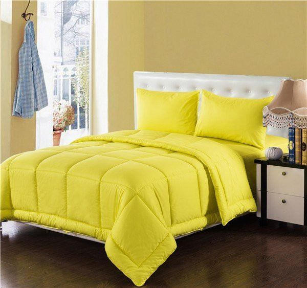 Tache 4 Piece Solid Sunny Yellow Box Stitched Comforter Set
