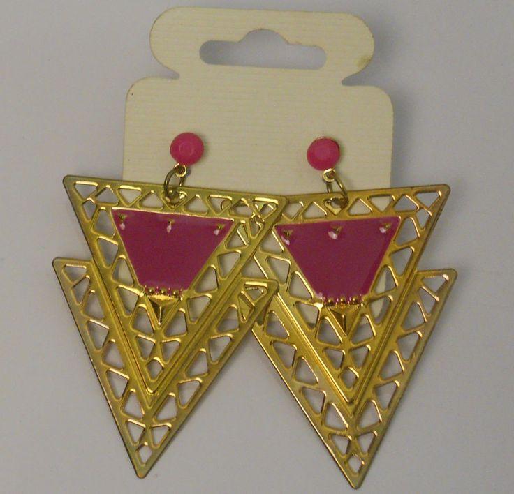 Women Triangle Earrings Drop Dangle Gold Tones Fashion Push Back Fasteners Unbra #Unbranded #DropDangle