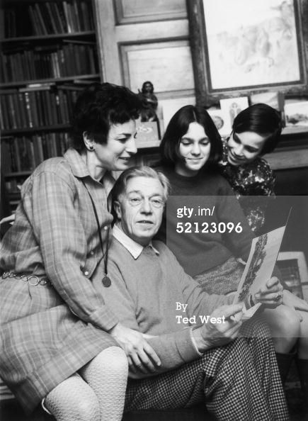Poet Cecil Day Lewis with his wife Jill, son Daniel and daughter Tamasin, while reading one of the many letters congratulating him on his appointment as Poet Laureate, 2nd January 1968. (Photo by Ted West/Central Press/Getty Images)