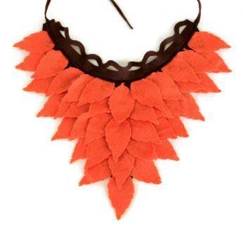 Sonbahar- Balkabağı Rengi- Koyu Kahverengi Keçe Yaprak Boyunluk- Yaka Kolye