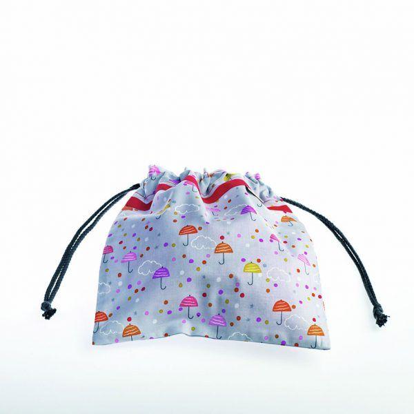 Bolsita de merienda realizada en tela de algodón ideal para guarderías o colegios. Estampado otoñal.