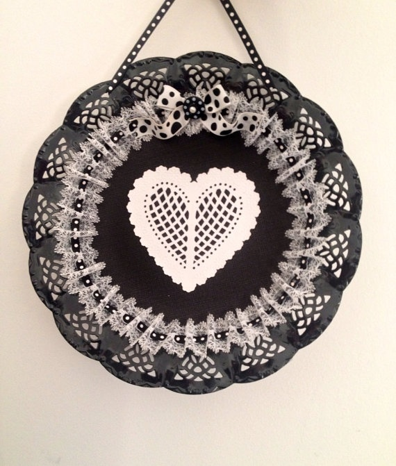Black and white heart wall hanging. by DesignedbyDivas on Etsy, $45.95