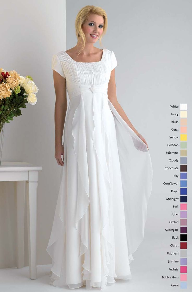 Modest short sleeves empire waist chiffon discount for Cheap modest wedding dresses with sleeves