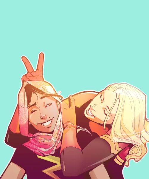 I'm really excited for kamala to finally meet carol and find out what a colossal fucking dork she is | Kamala Khan and Carol Danvers by villainyforbeginners