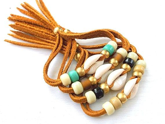 Suede Wrap Bracelet w/ Cowrie Shell  Pick Your Color  by xxxAZUxxx, $12.00