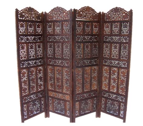 Anglo Indian Carved Four Panel Folding Screen Room Divider