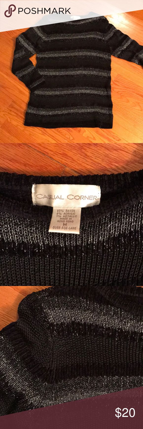 Casual Corner thick black silver holiday sweater Nick thick good quality black and silver striped holiday sweater.  Casual Corner Brand   Size medium but can fit a large Casual Corner Sweaters Crew & Scoop Necks